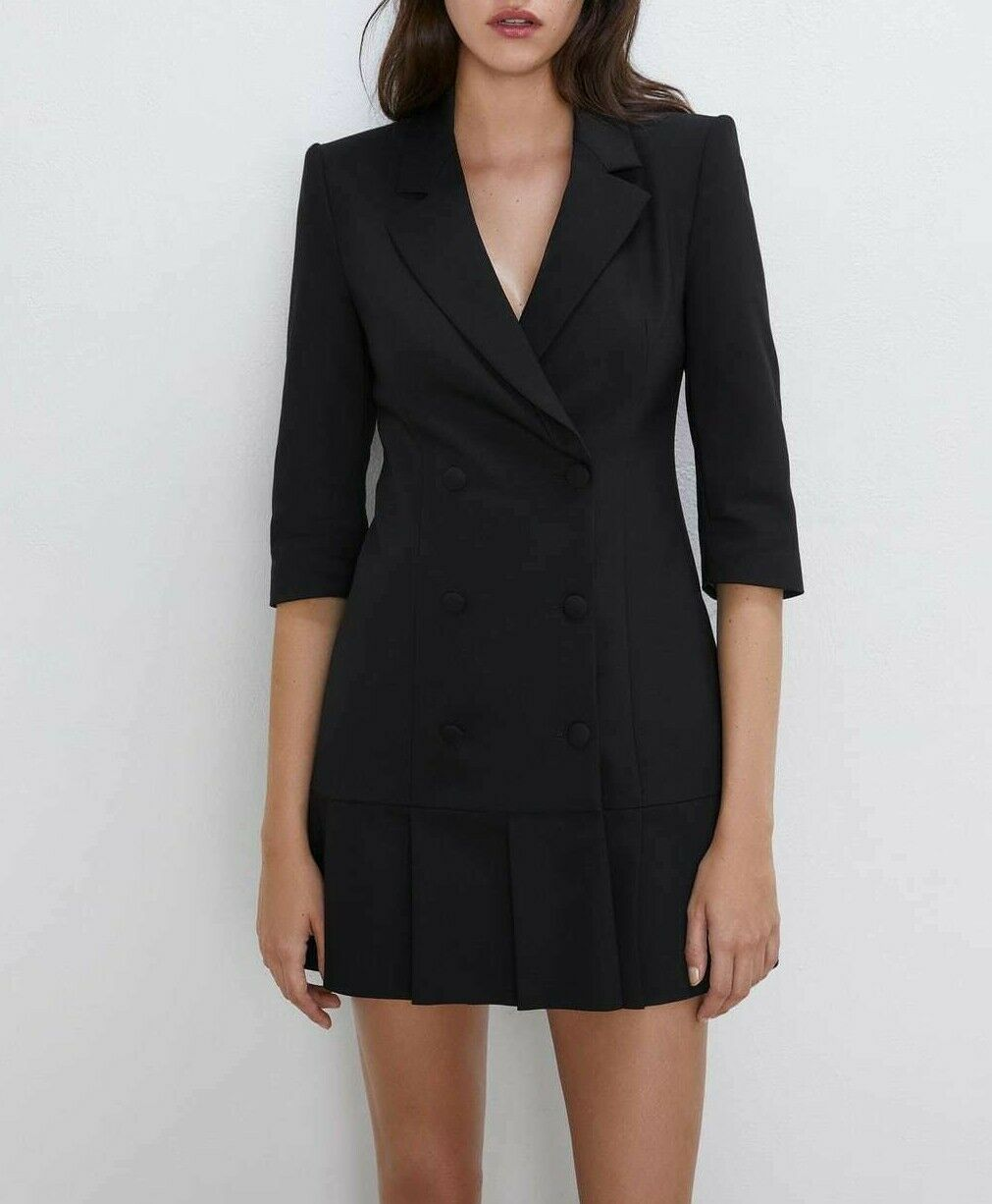 Zara Woman New Aw19 Black Pleated Blazer Style Mini Dress Ref 2352 230 94 9 Zara Blazer Dress Blazer Fashion Womens Dresses Dresses [ 1226 x 1011 Pixel ]