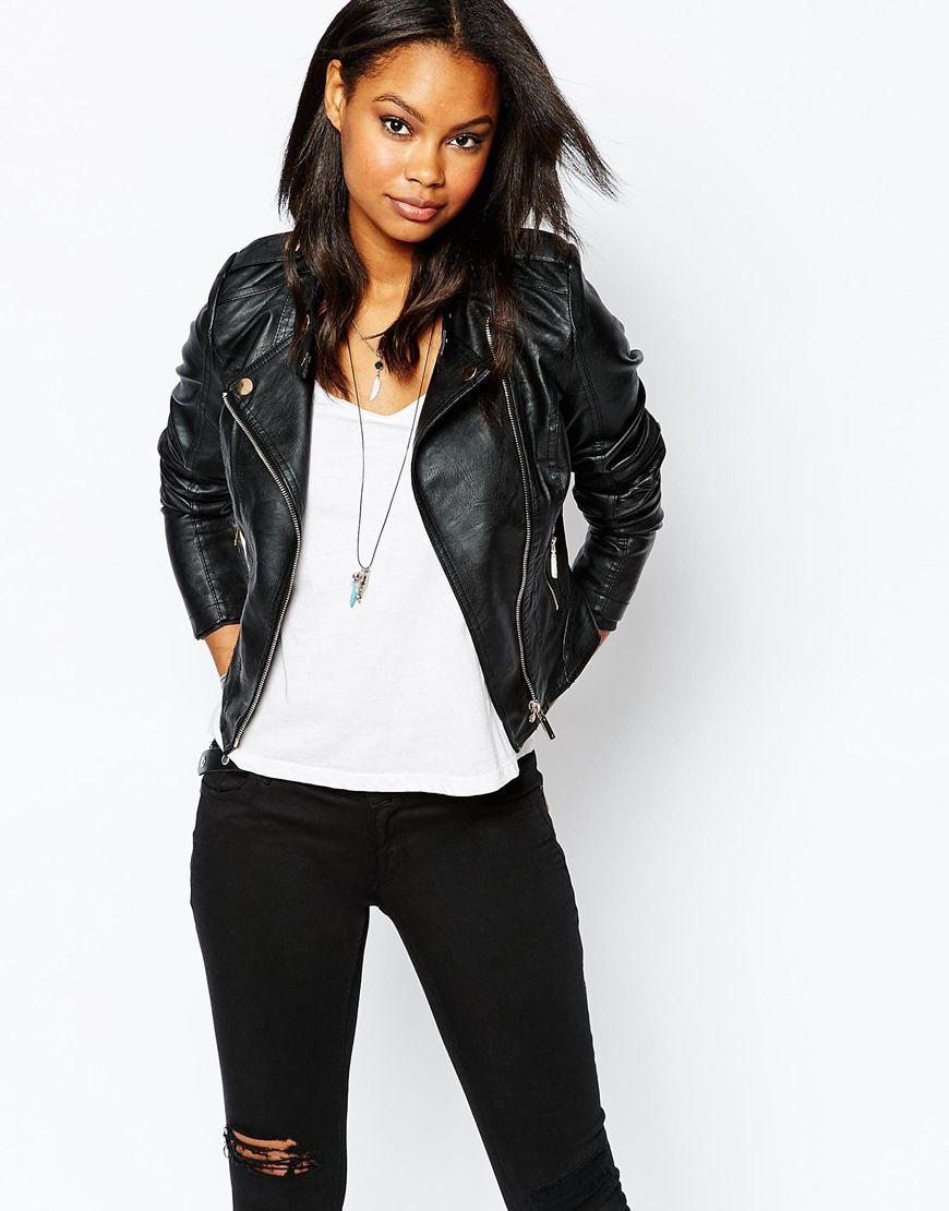 Leather jacket boohoo - Leather Sleeve Jacket Boohoo