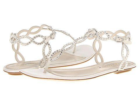 Sergio Rossi Satin Mermaid Flat Sandal Ivory