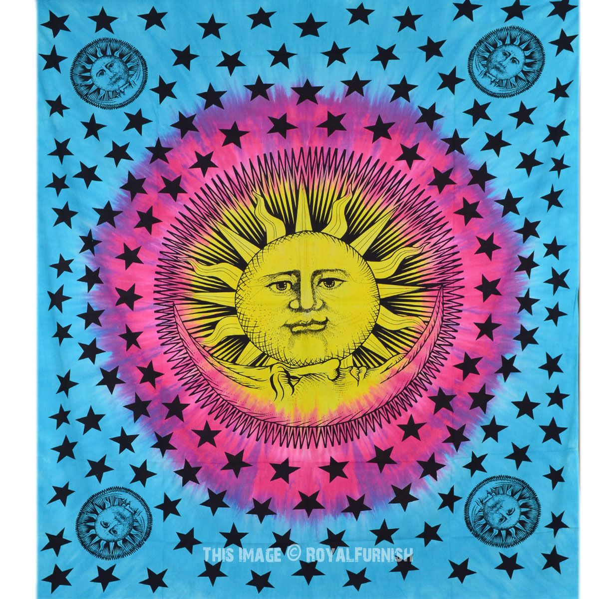 Blue and Yellow Psychedelic Sun Moon Tapestry Tie Dye Hippie Wall ...