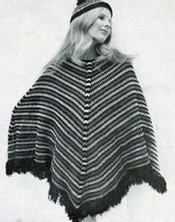 Stripped Granny Square Women\'s Poncho and Cap, Crochet Poncho ...