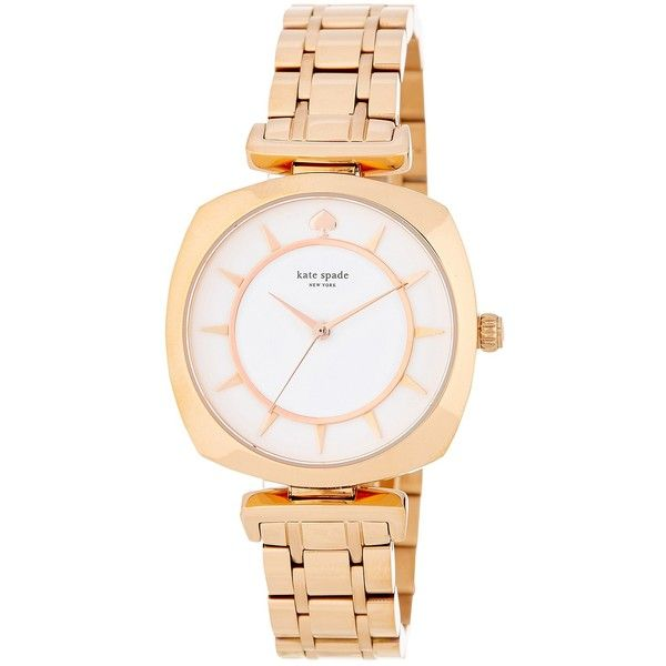 kate spade new york women's barrow bracelet watch ($125) ❤ liked on Polyvore featuring jewelry, watches, rose gold, kate spade jewelry, kate spade watches, stainless steel watch bracelet, stainless steel watches and stainless steel jewelry