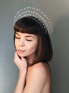 crowns and tiaras, white tiara, crystal crown, crystal headpiece, white hair vine, fascinator headdress, fairy headpieces, crystal tiara