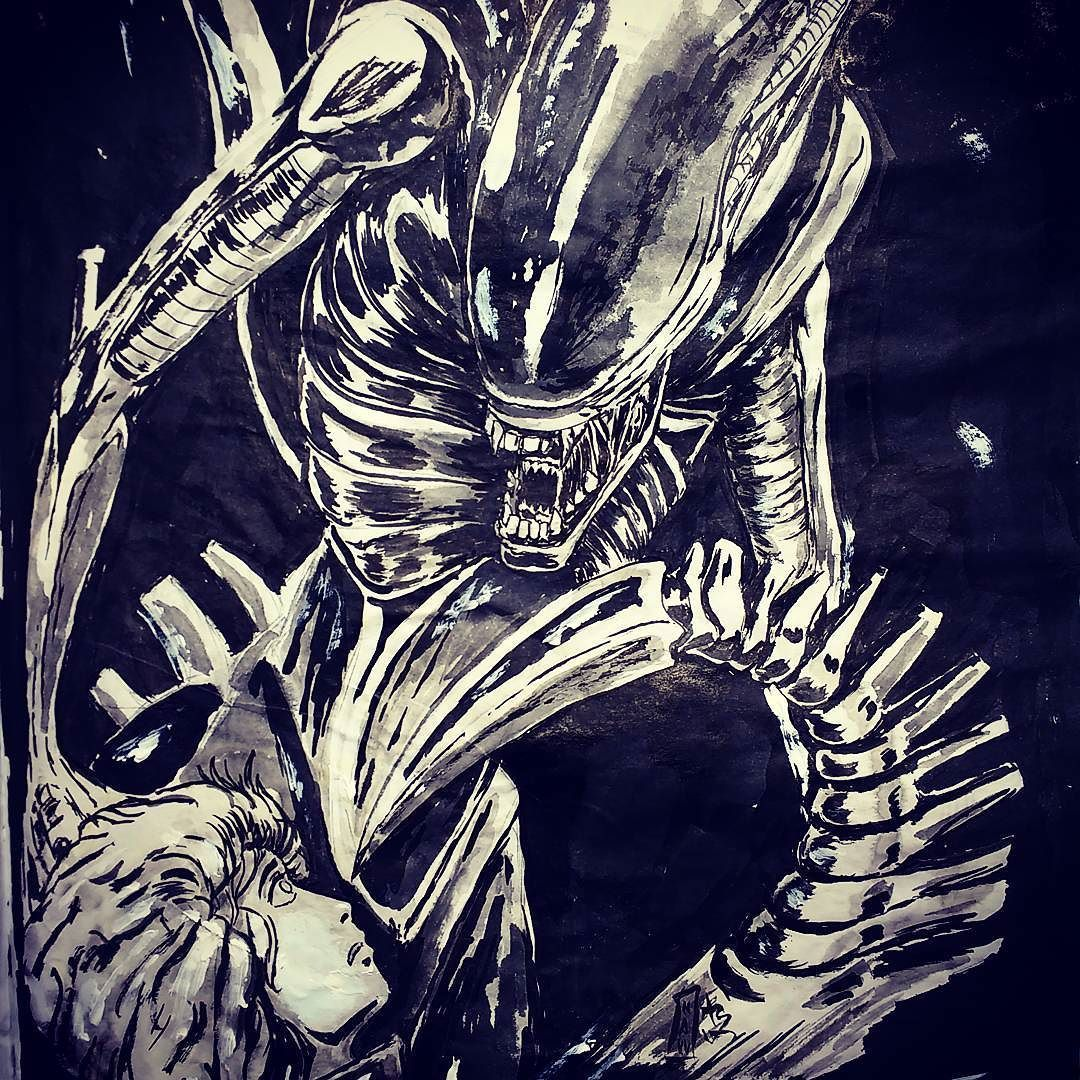 #inktober2016 #inktober #alien #hrgiger #tribute #horrormovie #inkart #brushpen #sumiink #sketchbook #monster