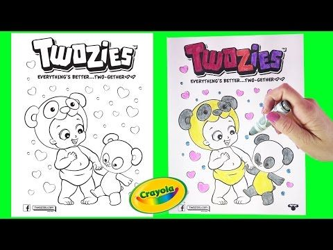 ultra rare twozies coloring page pingle pandle two gether crayola markers little wishes kids video