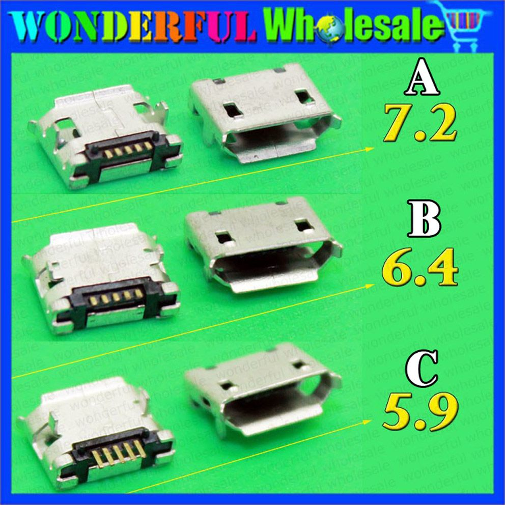 3 Types 59 64 72mm 5pin 5p Smt Micro Usb Tail Charging Connector Power Jack Plug 2 Pin Wire Socket Lead Male And Female Hm Smartphone Mobile Phone V8 Port