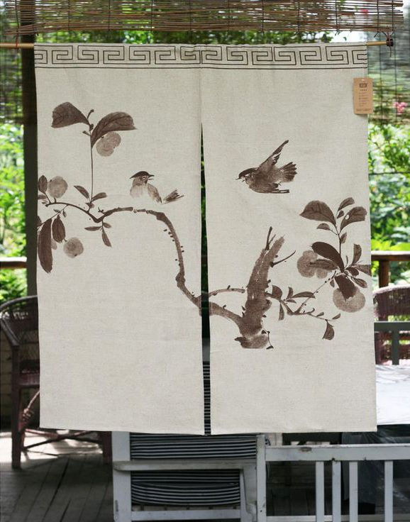 Exceptionnel Eco Friendly Home Decor Cotton Linen Watercolor Happy Birds Beige Asian  Door Curtain   ASIAN INSPIRED