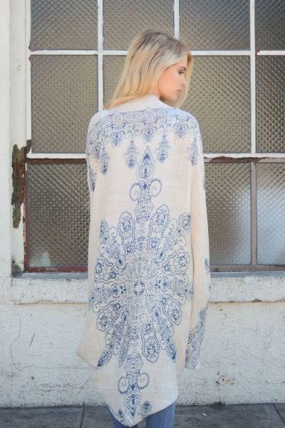 Mandala Kimono Scarf - Navy