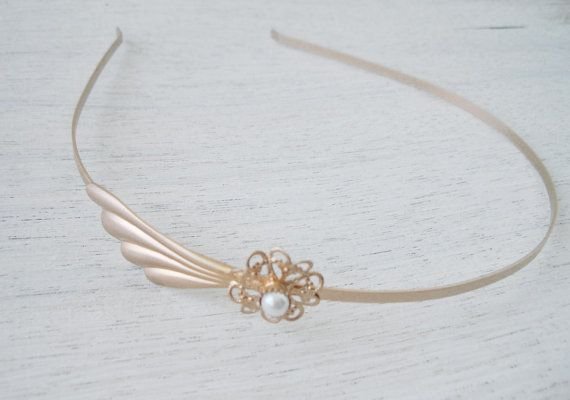 Rose Gold headband Filigree Side head band Gold by TamarAndTalya