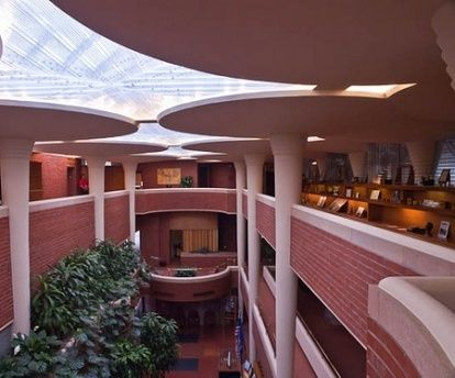Pioneers Of Modern Architecture frank lloyd wright - interior of johnson wax company's building in