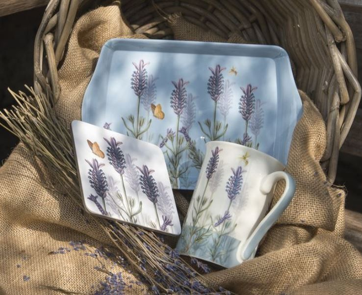 Royal Botanic Gardens, Kew Lavender Time For Tea Gift Set, including a Mug, Coaster and Tray
