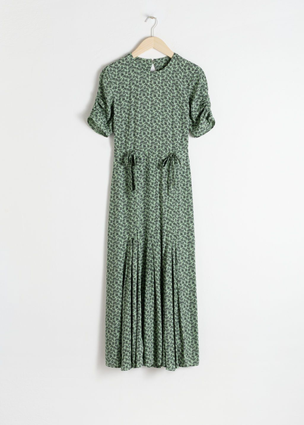 50fb8554a0 Front image of Stories open back floral midi dress in green. Long Sleeve Ruffle  Tier ...