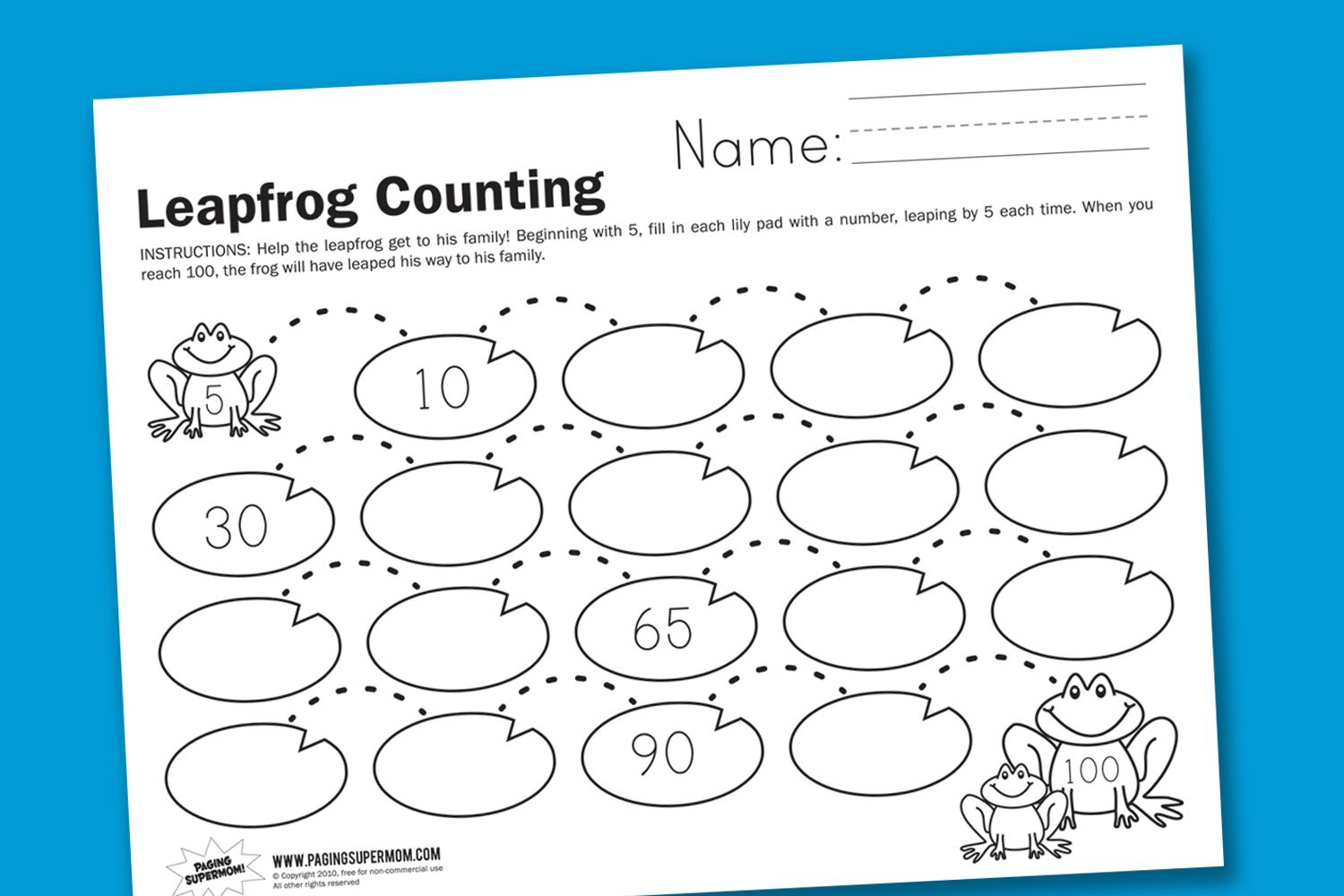 worksheet Skip Counting By 10 Worksheets leapfrog counting supermom math and worksheets in honor of leap day weve made a worksheet for worksheet