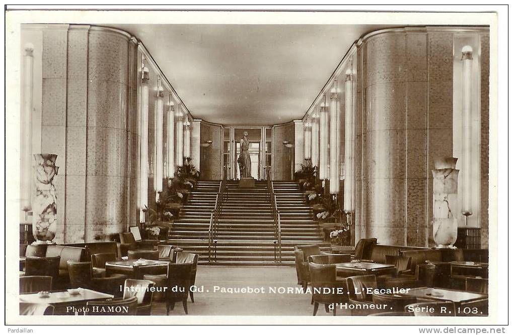 Int rieur du paquebot normandie l 39 escalier le old for Decoration interieur france