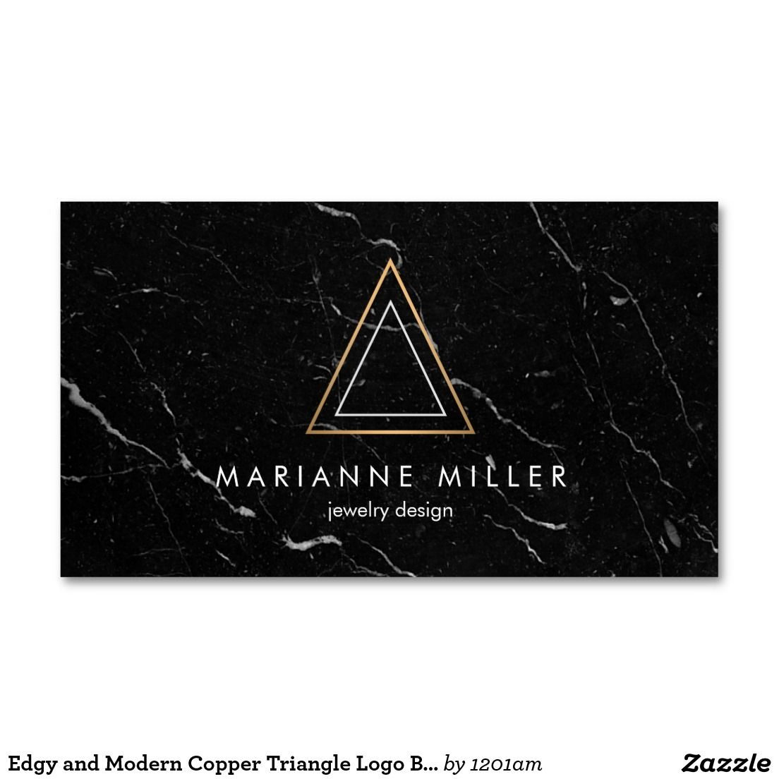 Edgy Rose Gold Triangle Logo Black Marble Business Card | Pinterest ...