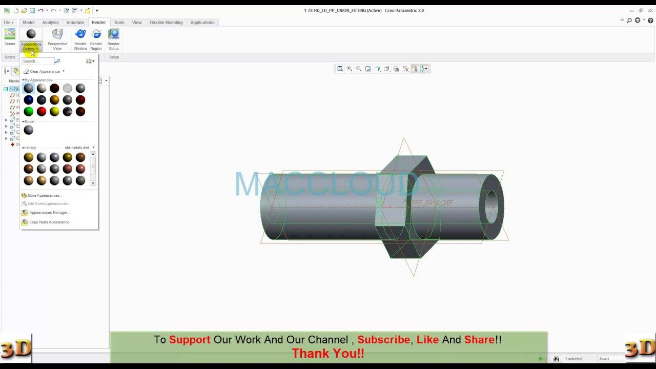 Ptc Creo Modeling Part 1 78 Hd Fd Pp Union Fitting Fittings Videos Tutorial Steam Engine