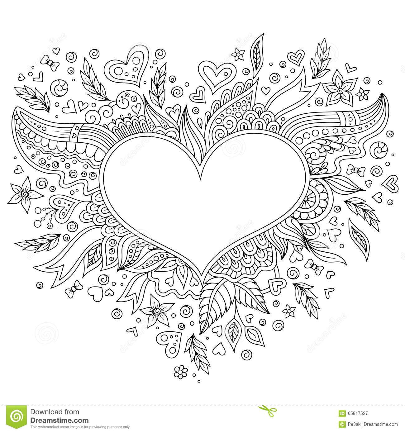 Coloring Page Flower Heart St Valentines Day