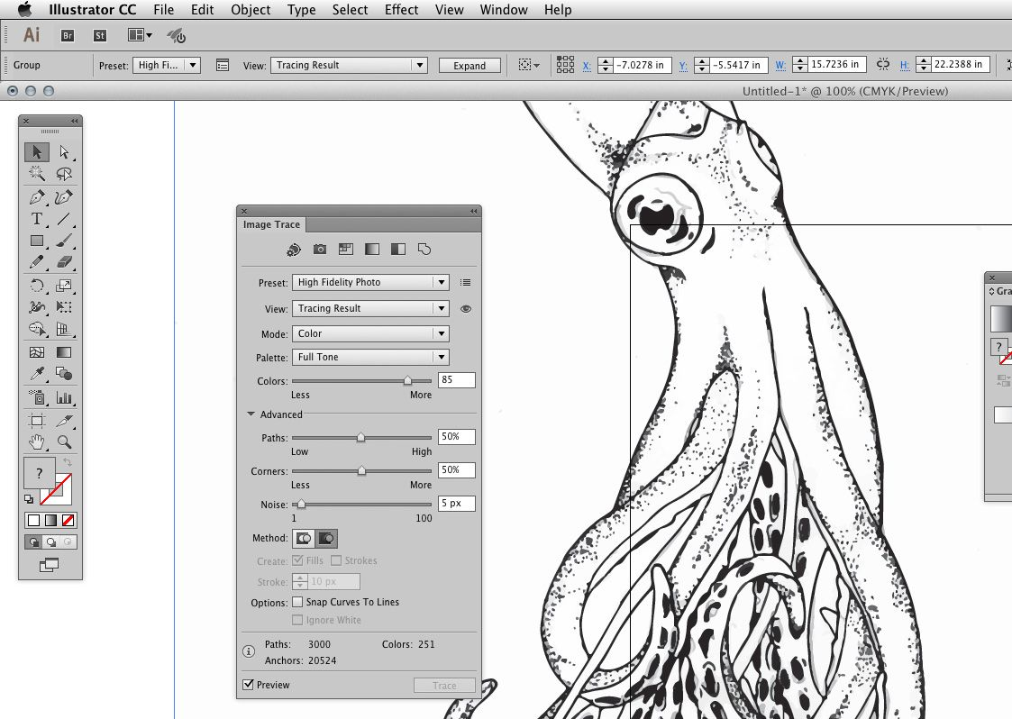 How to do high quality image trace and change drawings to