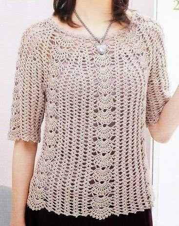 Crochet Free Colored Blouse Plus Size Fashion Free Patterns