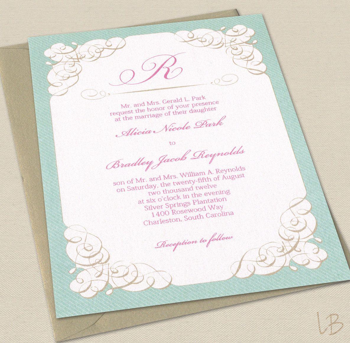 Victorian Wedding Invitation Sample Set - Elegant Shabby Chic ...