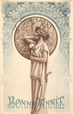 mucha style new years card