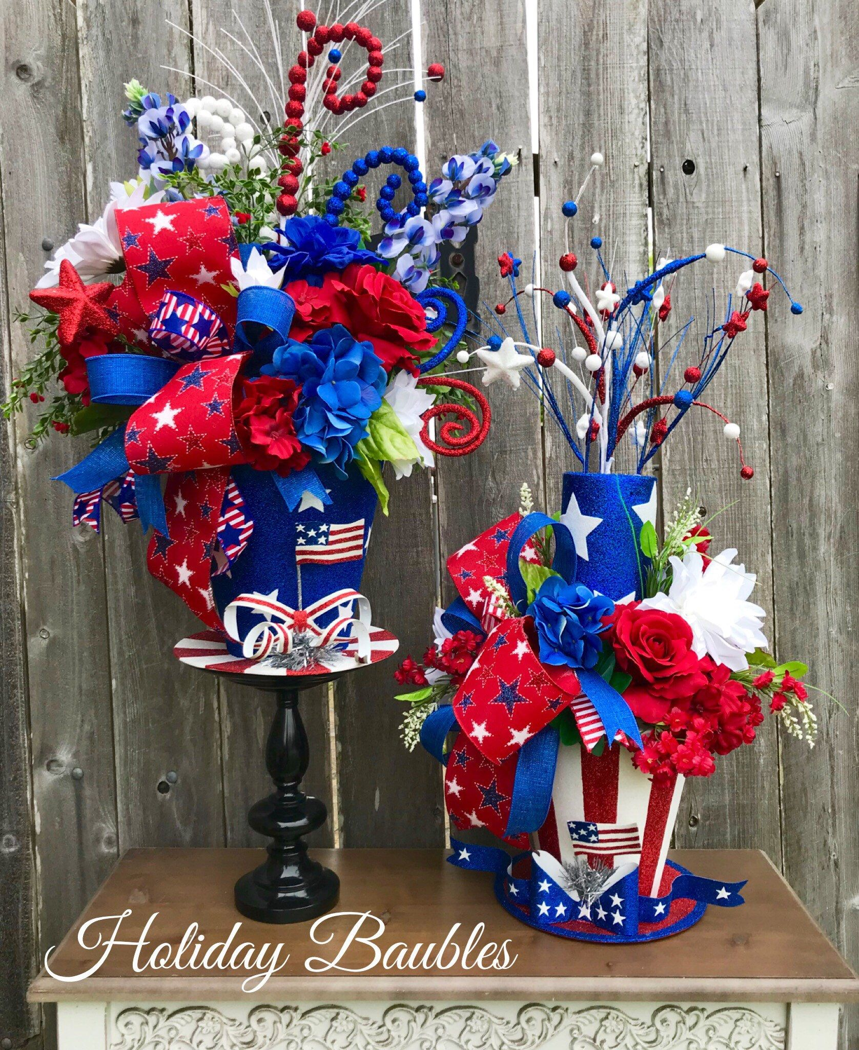 A Personal Favorite From My Etsy Shop Https Www Etsy Com Listing 612239065 Patriotic Arr Patriotic Decorations Patriotic Centerpieces 4th Of July Decorations