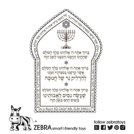 Hanukkah Prayers-Menorah Printable-Hanukiah blessing