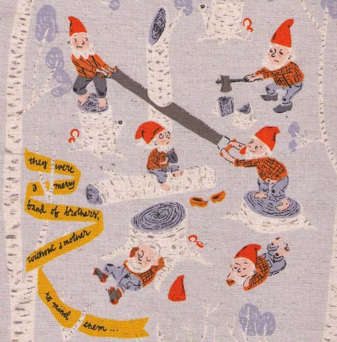 FAT QUATER - Far Far Away III Heather Ross Light Blue -  Snow White and the Seven Dwarfs - Kokka Trefle - Japanese Import Fabric. $5.00, via Etsy.