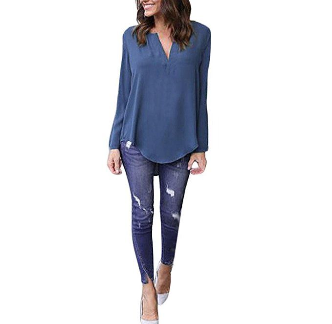 Women Loose Casual Blouse,Sumilulu Fashion Long Sleeve Chiffon Blouse Shirt Tops New Blouse (S, Navy) ** Buy now: http://amzn.to/2iELcbK