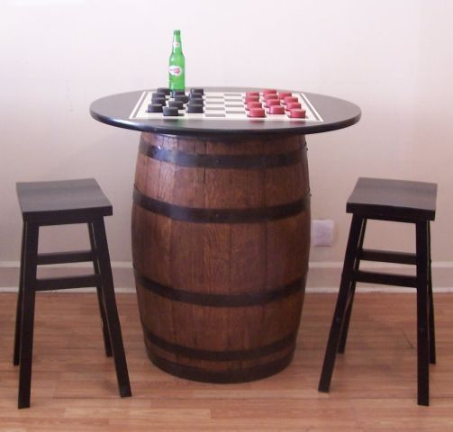 """Whiskey Barrel Table with 36/"""" Black Table Top-Reversible to Mahogany"""