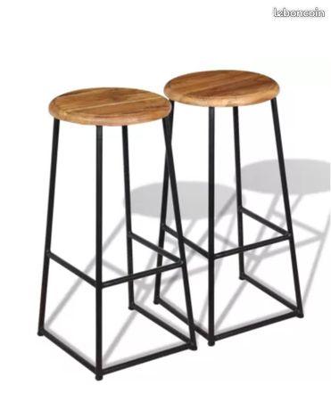 lot 4 tabourets de bar en bois de teck