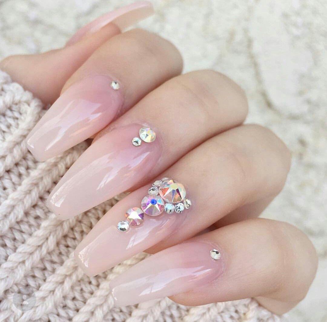 Natural Glam Nails Glam Nails Clear Acrylic Nails Beautiful Nails