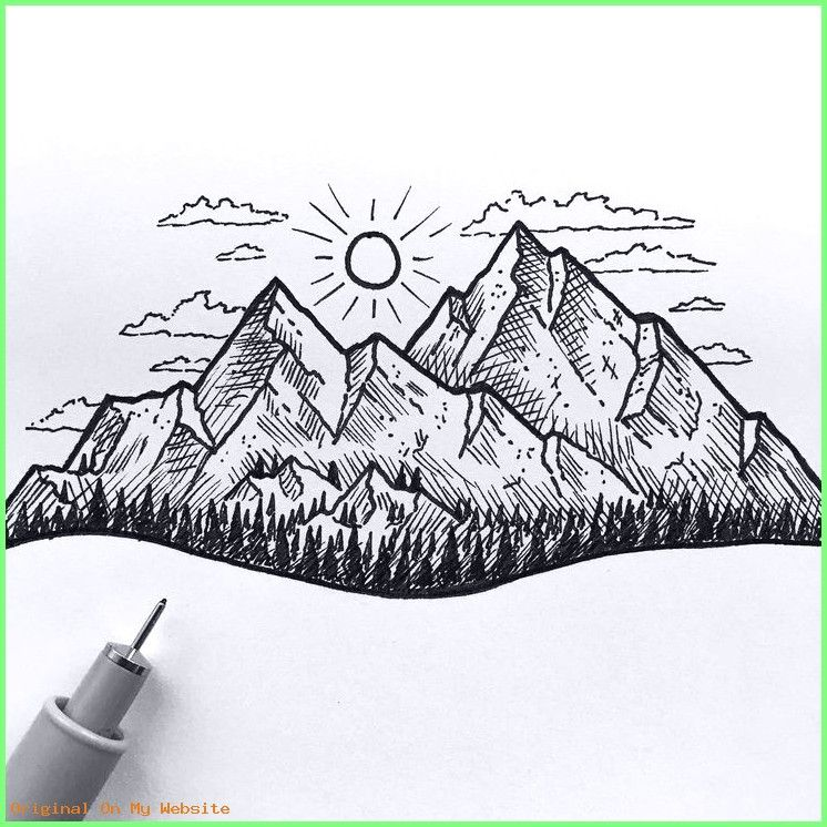 Art Sketches Easy Drawing Mountain Landscape Mountain Drawing