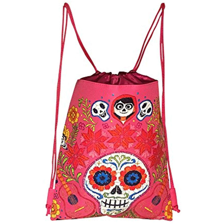 fe9389ad41c Disney COCO Drawstring Backpack PIXAR Licensed Sling Tote Gym Bag Remember  Me (Pink Skull Bone