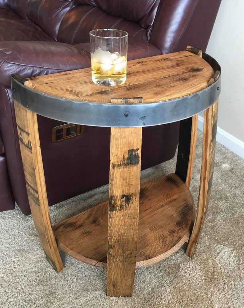 Bourbon Barrel Half End Table In 2020 Barrel Furniture Wine Barrel End Table Barrel Coffee Table