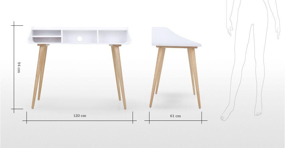 Esme un bureau blanc et frêne made trabets living room