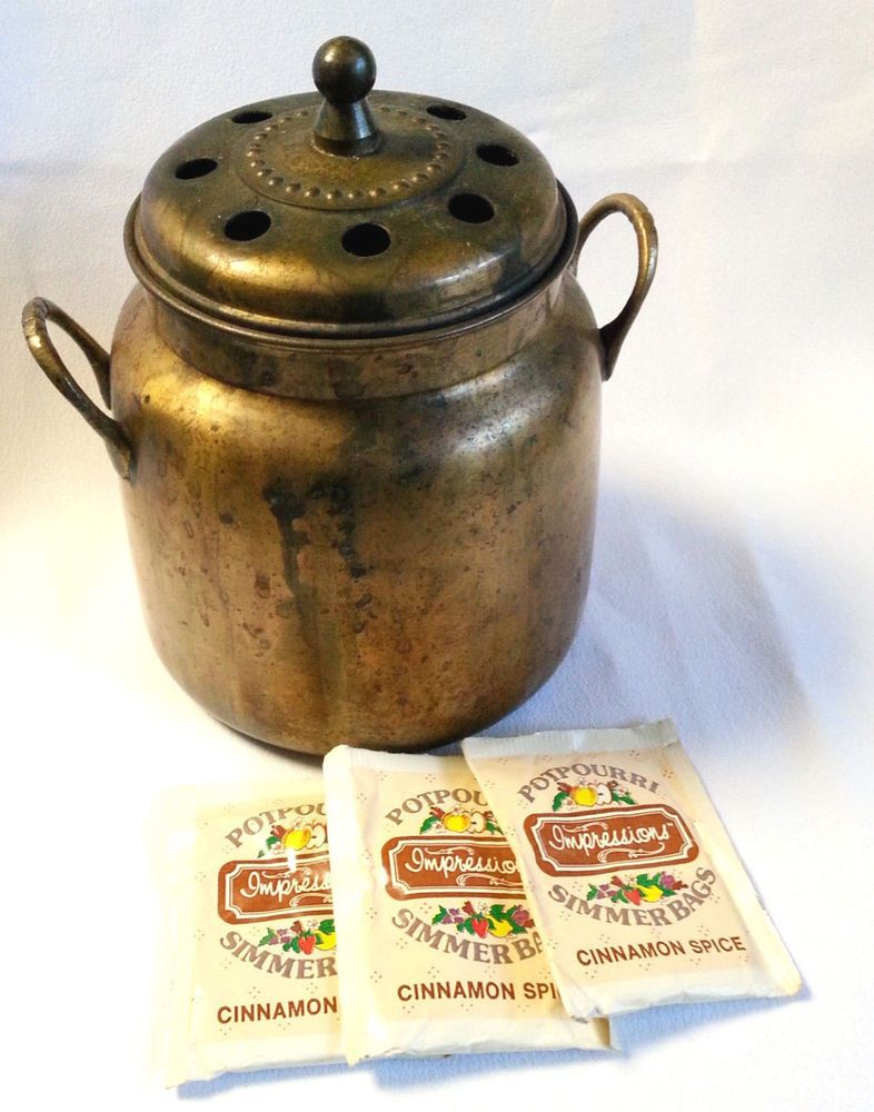 Vintage Brass Potpourri Simmer Pot With 3 Packets Cinnamon Spice
