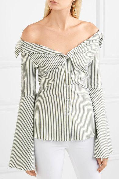 c5f210288adf89 Caroline Constas - Persephone Off-the-shoulder Striped Cotton-poplin Shirt  - Green
