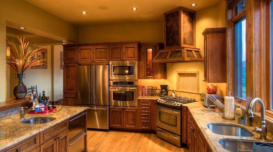 Amazing Western Rustic Timber U0026 Stone Montana Mountain Home   Like The Cabinets,  Countertops And Lighting