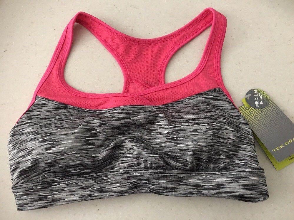 179d7820c41f0 NWT Tek Gear Womens Gray Pink Sports Bra Sz M Wicking Medium Impact NEW   TekGear  SportsBrasBraTops