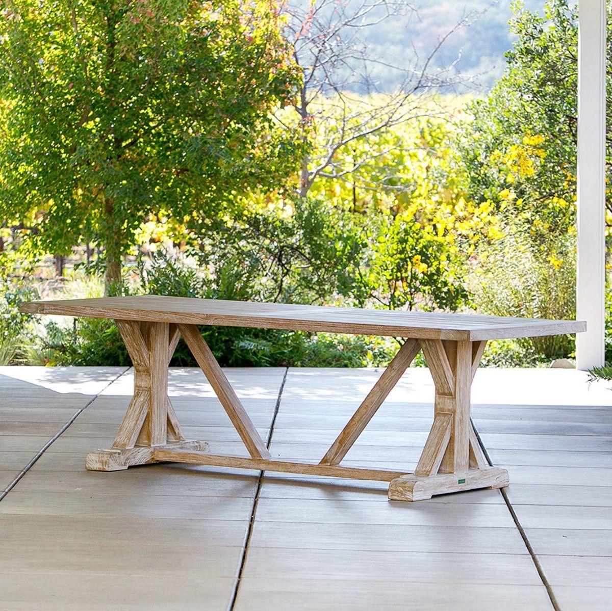 Farmhous Beam Table Teak Outdoor Furniture Terra Patio Teak Outdoor Furniture Outdoor Dining Furniture Teak Outdoor