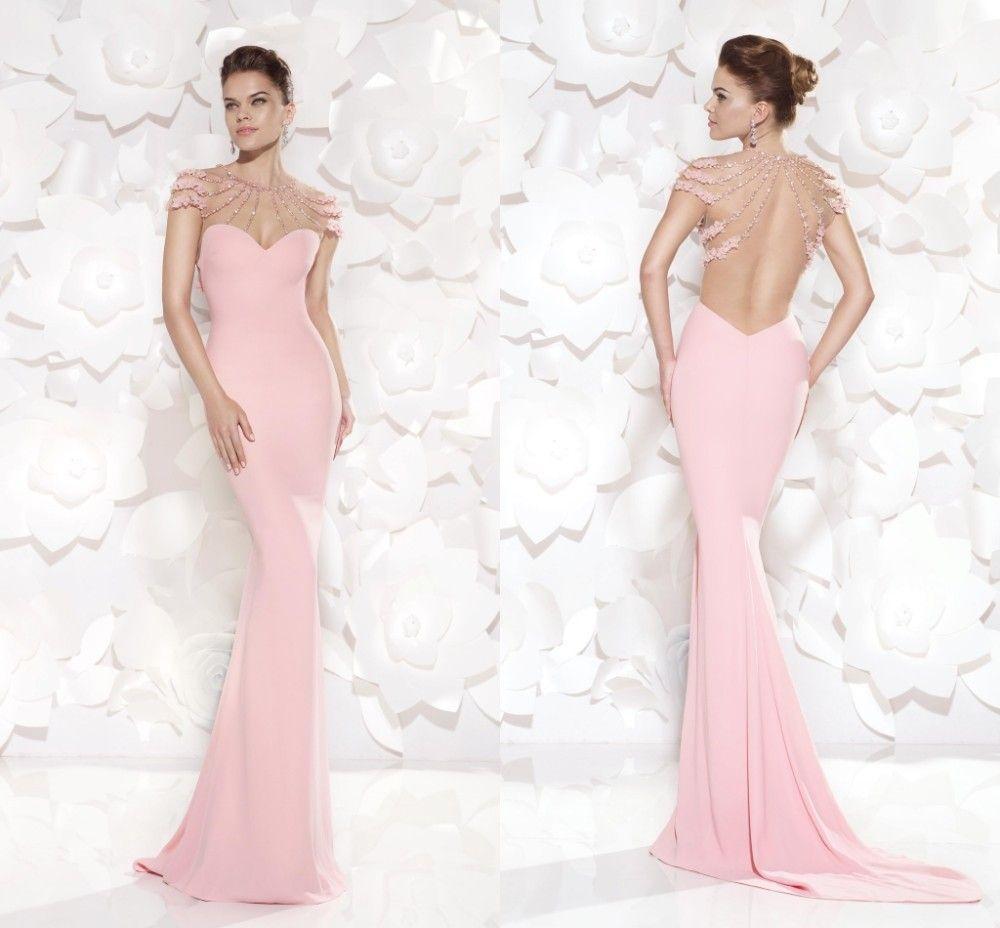Aliexpress.com : Buy Elegant Pink Mermaid Long Evening Dresses 2015 ...