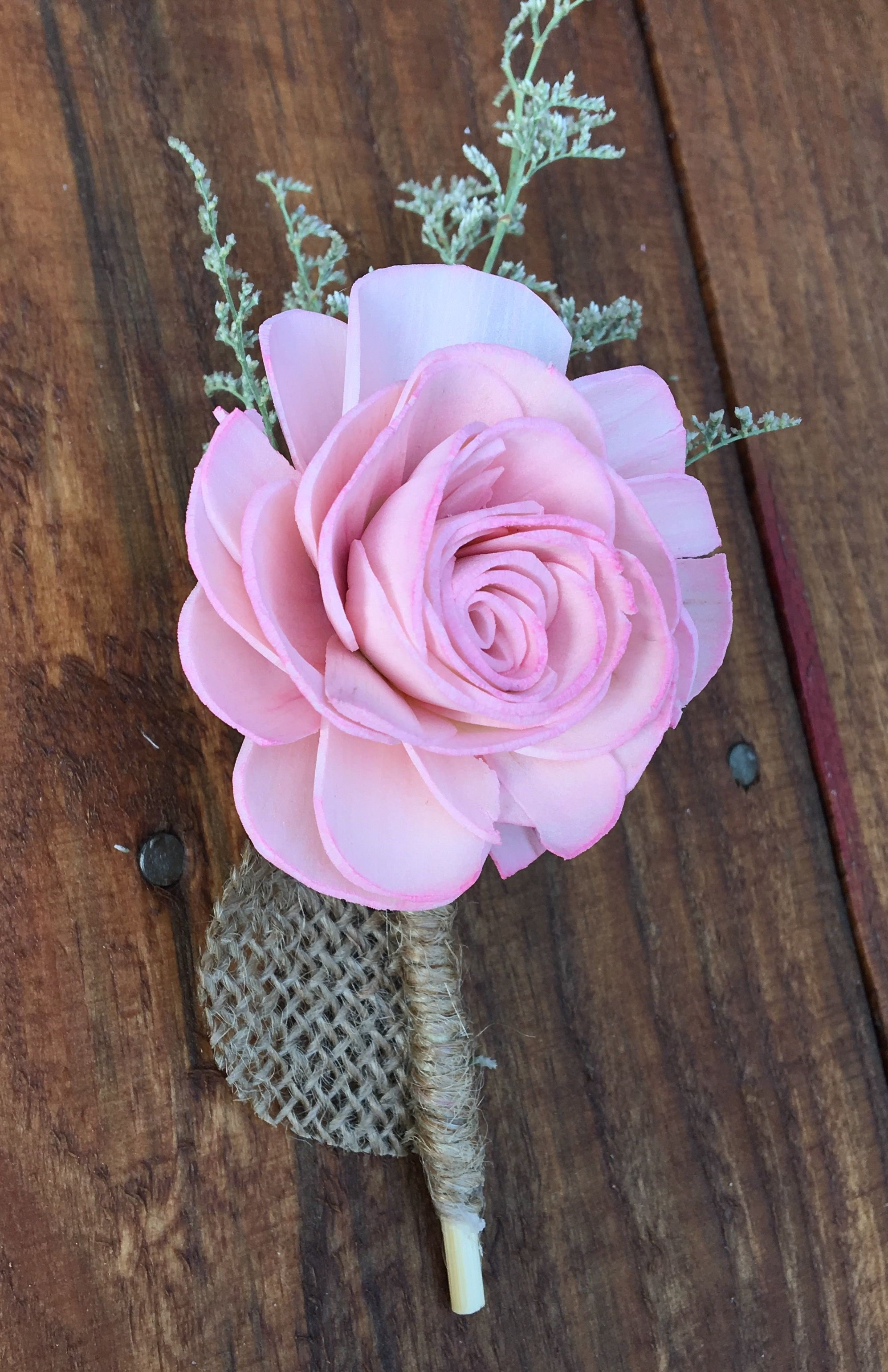 Blush Pink Boutonnières with Wood Flowers. Made by Luv2DIY