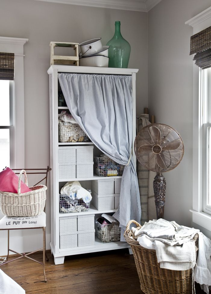 Paint A Bookcase And Add Simple Curtain Using Tension Rod Cute Vintage Y Storage