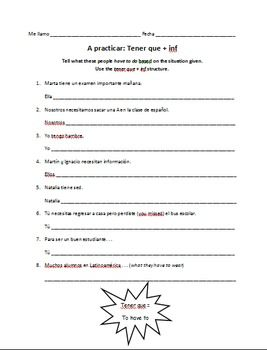 Spanish Tener Que + Infinitive Worksheet (Expressions with ...