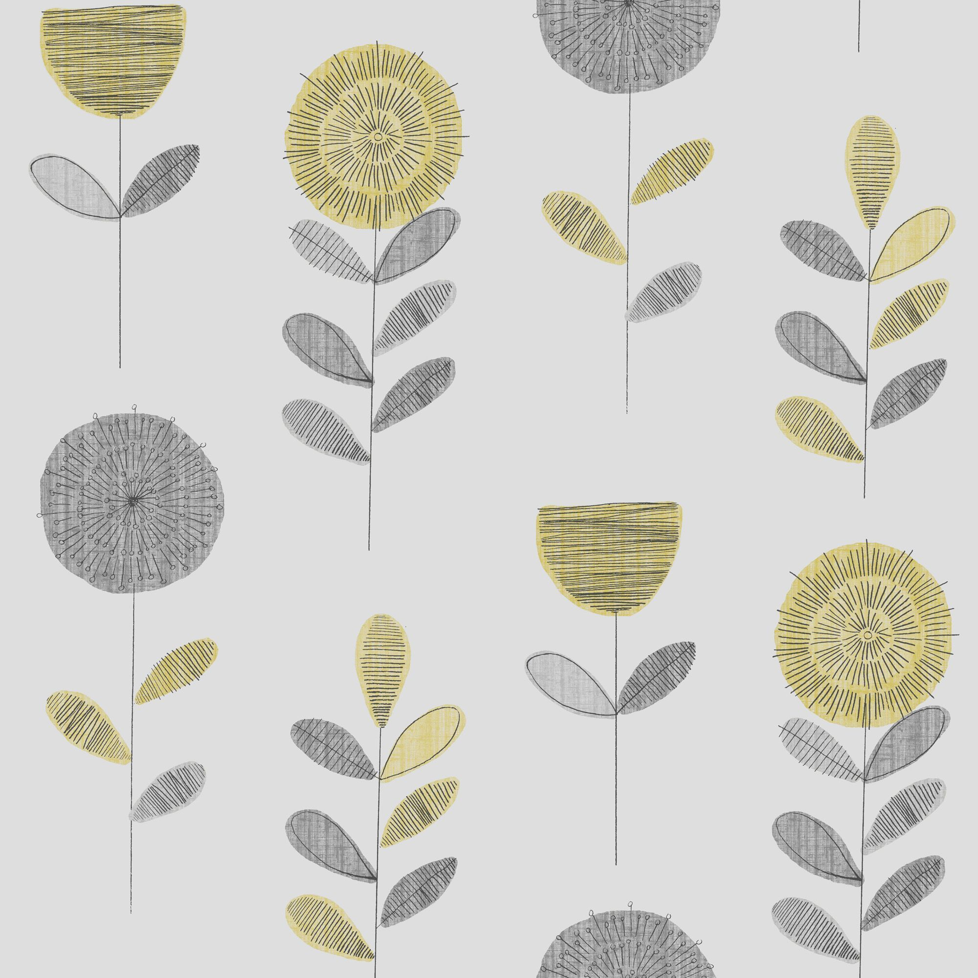 Super Fresco Paste The Paper Flower Sketch Grey & Yellow