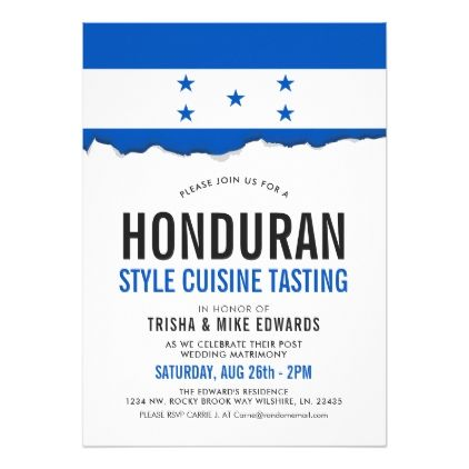 Honduran Cuisine  Party Flag White Invite  Invitations