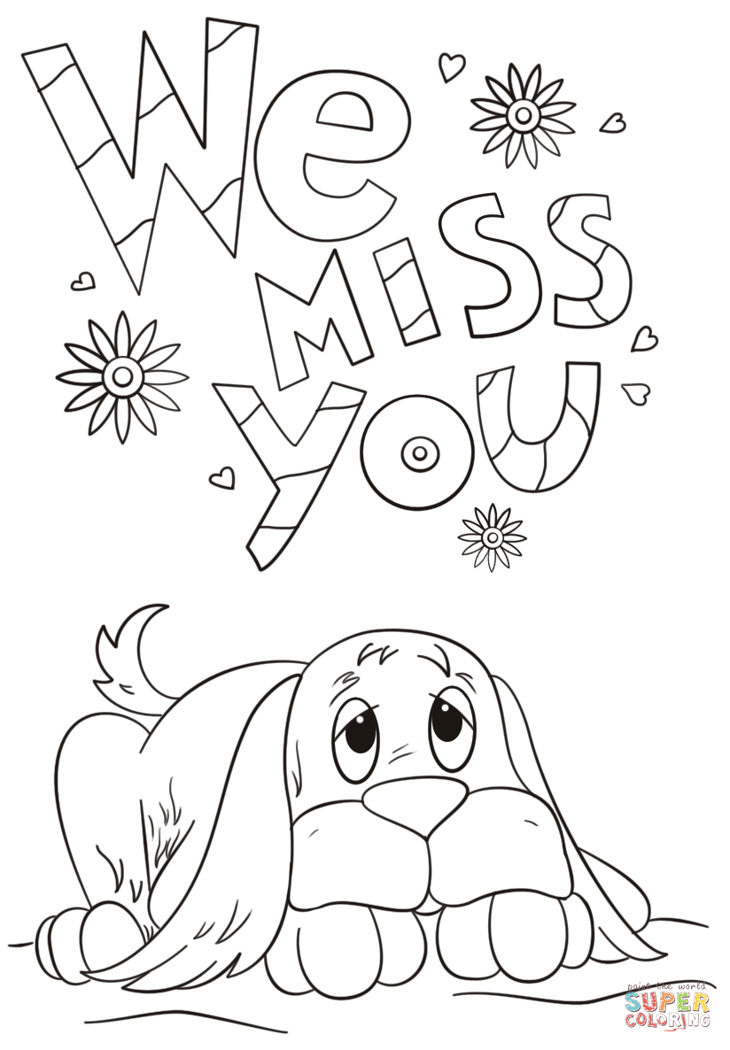 photograph relating to Printable Miss You Cards known as We Skip On your own coloring webpage Absolutely free Printable Coloring Webpages