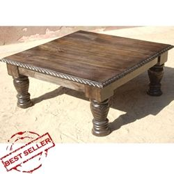 Twisted Edge Mango Wood Hand Carved 35 Square Coffee Table Wood