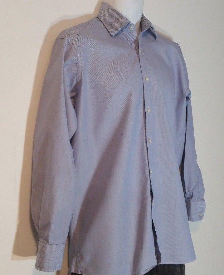 Charles Tyrwhitt Shirt 15/33 Blue 100% Cotton Classic Fit Long Sleeve Pin Stripe #CharlesTyrwhitt